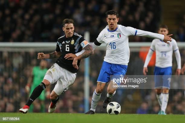 Lucas Biglia of Argentina, Lorenzo Pellegrini of Italy during the International Friendly match between Italy v Argentina at the Etihad Stadium on...