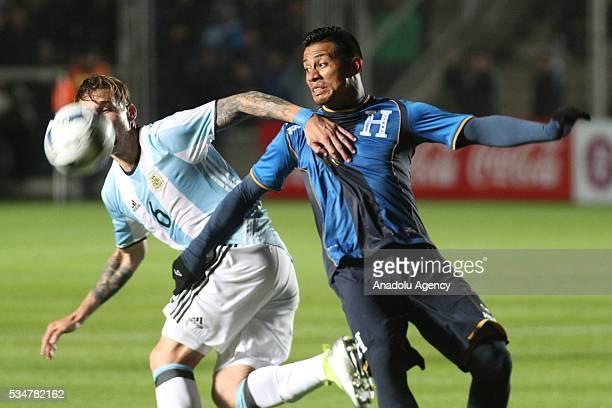 Lucas Biglia of Argentina national football team in action during a friendly game between Argentina and Honduras at Bicentenario stadium in San Juan...