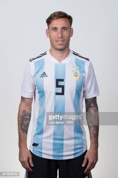 Lucas Biglia of Argentina poses for a portrait during the official FIFA World Cup 2018 portrait session on June 12 2018 in Moscow Russia