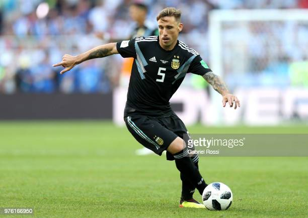 Lucas Biglia of Argentina runs with the ball during the 2018 FIFA World Cup Russia group D match between Argentina and Iceland at Spartak Stadium on...