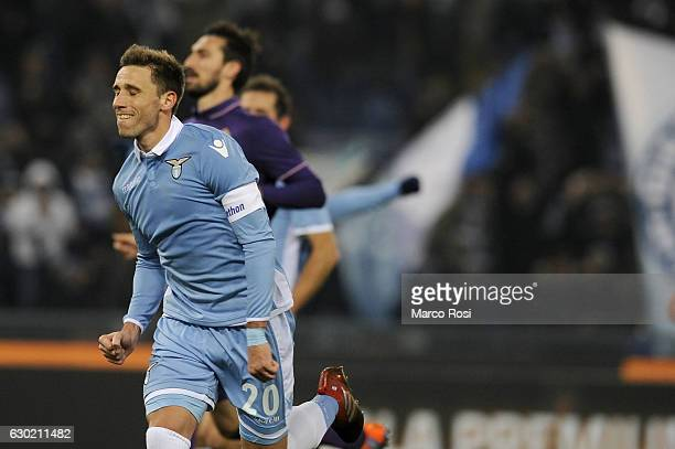 Lucas Biglia of SS Lazio celebrates with his team mate a second goal during the Serie A match between SS Lazio and ACF Fiorentina at Stadio Olimpico...