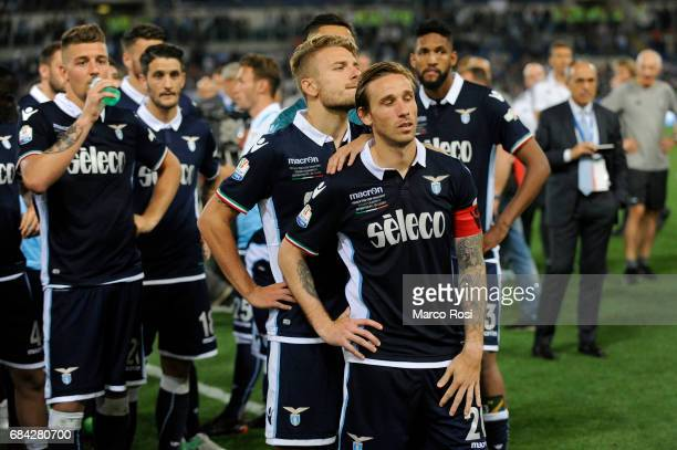 Lucas Biglia of SS Lazio reacts at the end of the match after the TIM Cup Final match between SS Lazio and Juventus FC at Olimpico Stadium on May 17,...