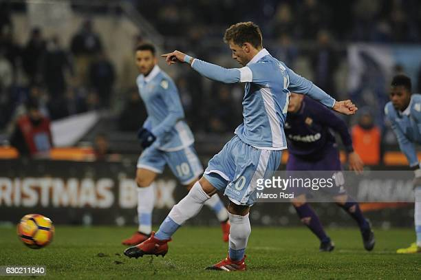 Lucas Biglia of SS Lazio scores a second goal a penalty during the Serie A match between SS Lazio and ACF Fiorentina at Stadio Olimpico on December...