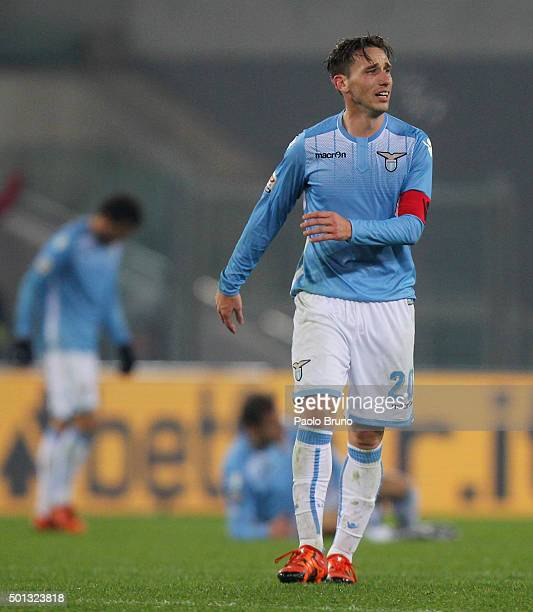 Lucas Biglia of SS Lazio shows his dejection after the Serie A match betweeen SS Lazio and UC Sampdoria at Stadio Olimpico on December 14 2015 in...