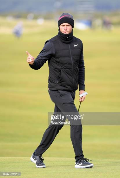 Lucas Bjerregaard of Denmark celebrates a birdie on the 16th during day four of the 2018 Alfred Dunhill Links Championship at The Old Course on...