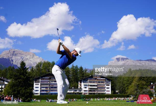 Lucas Bjerregaard of Denmark plays a shot on the eigth hole during the final round of the Omega European Masters at CranssurSierre Golf Club on...