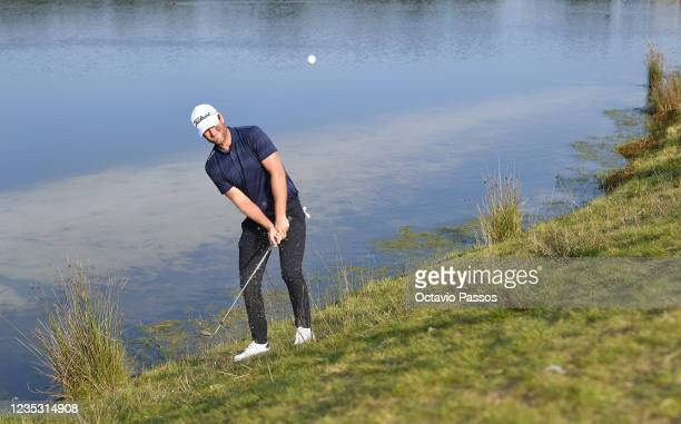 Lucas Bjerregaard of Denmark plays his third shot at the 6th hole during Day Two of the Dutch Open at Bernardus Golf on September 17, 2021 in...