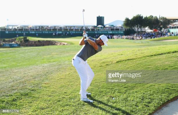 Lucas Bjerregaard of Denmark plays in to the 18th green during day four of the Portugal Masters at Dom Pedro Victoria Golf Club on September 24 2017...