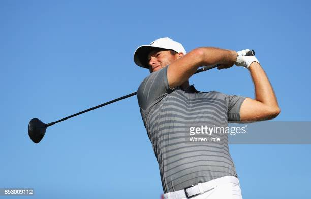 Lucas Bjerregaard of Denmark tees off on the 18th hole during day four of the Portugal Masters at Dom Pedro Victoria Golf Club on September 24 2017...