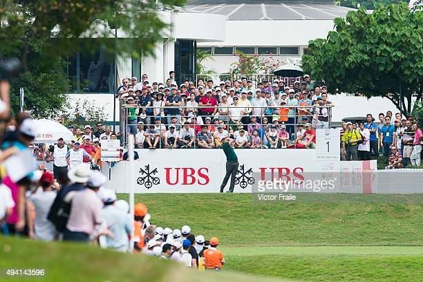 Lucas Bjerregaard of Denmark tees off on the 1st hole during the final round of the UBS Hong Kong Open at the Hong Kong Golf Club on October 25 2015...