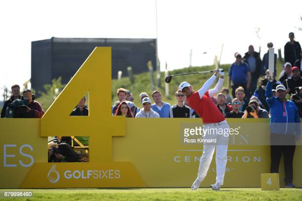 Lucas Bjerregaard of Denmark tees off on the 4th hole during the final match between Denmark and Australia during day two of GolfSixes at The...