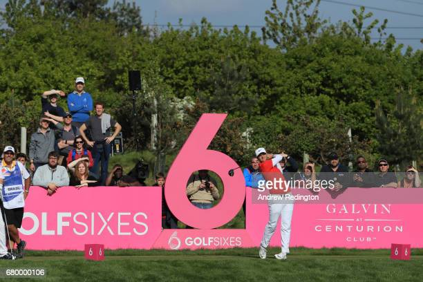 Lucas Bjerregaard of Denmark tees off on the 6th hole during the final match between Denmark and Australia during day two of GolfSixes at The...