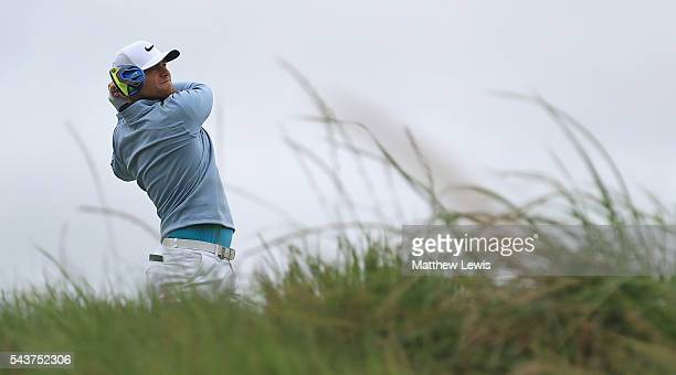 Lucas Bjerregaard of Denmark tees off on the 9th hole during day one of the 100th Open de France at Le Golf National on June 30 2016 in Paris France