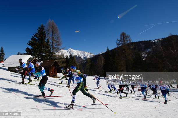 Lucas Boegl of Germany competes in the Cross Country Skiathlon Men 30k race during the FIS Nordic World Ski Championships on February 23 2019 in...