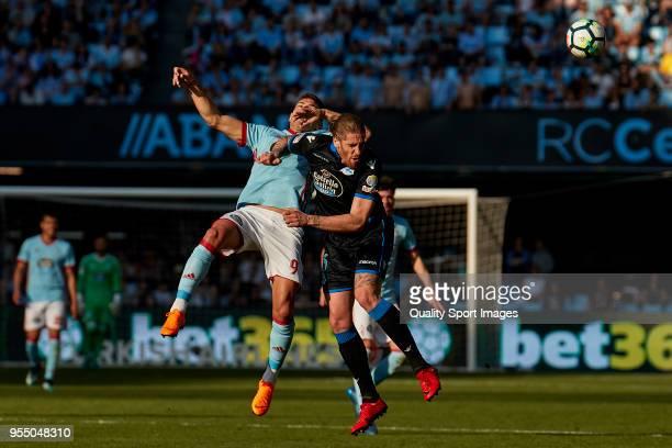 Lucas Boye of Celta de Vigo competes for the ball with Raul Albentosa of Deportivo de La Coruna during the La Liga match between Celta de Vigo and...