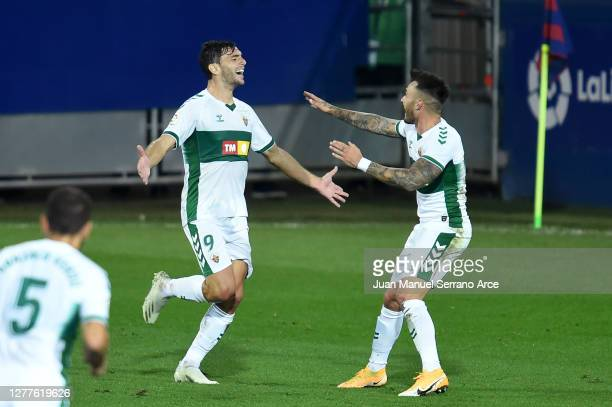 Lucas Boye of Elche CF celebrates after scoring his sides first goal during the La Liga Santander match between SD Eibar and Elche CF at Estadio...