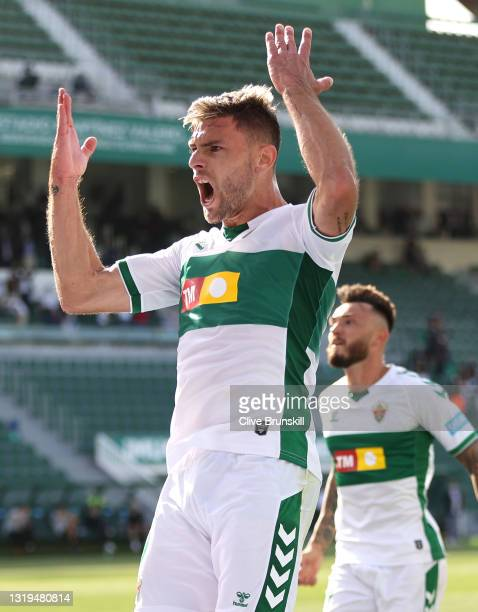 Lucas Boye of Elche CF celebrates after scoring their team's first goal during the La Liga Santander match between Elche CF and Athletic Club at...
