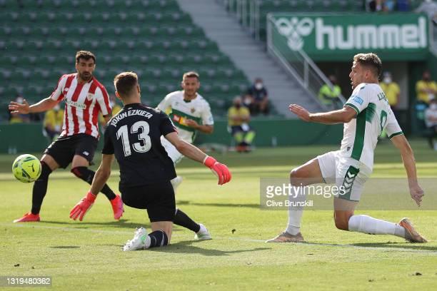Lucas Boye of Elche CF scores their team's first goal during the La Liga Santander match between Elche CF and Athletic Club at Estadio Martinez...