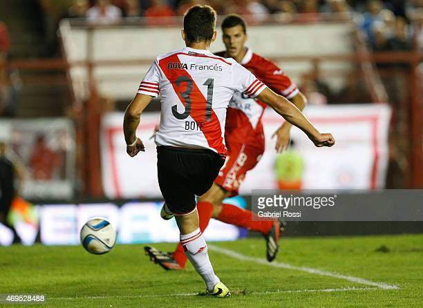 Lucas Boye of River Plate kicks the ball to score during a match between Argentinos Juniors and River Plate as part of ninth round of Torneo Primera...