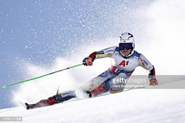 Lucas Braathen of Norway in action during the Audi FIS Alpine Ski World Cup Men's Giant Slalom on October 18, 2020 in Soelden, Austria.