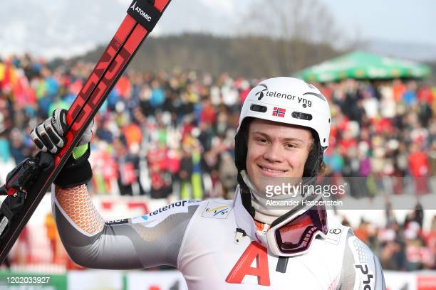 Lucas Braathen of Norway reacts after the 1st run during the Hahnenkamm Rennen Audi FIS Alpine Ski World Cup Men's Slalom at Ganslernalm on January...