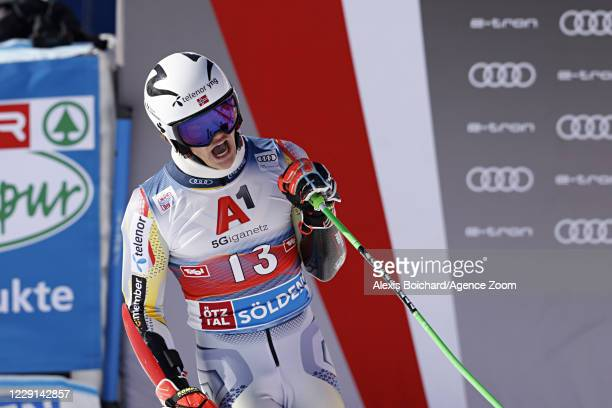 Lucas Braathen of Norway takes 1st place during the Audi FIS Alpine Ski World Cup Men's Giant Slalom on October 18, 2020 in Soelden, Austria.