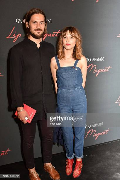Lucas BravoÊand Louise Verneuil attend 'Dress Your Lips' Giorgio Armani Beauty Party at Grand Palais In Paris on June 7 2016 in Paris France