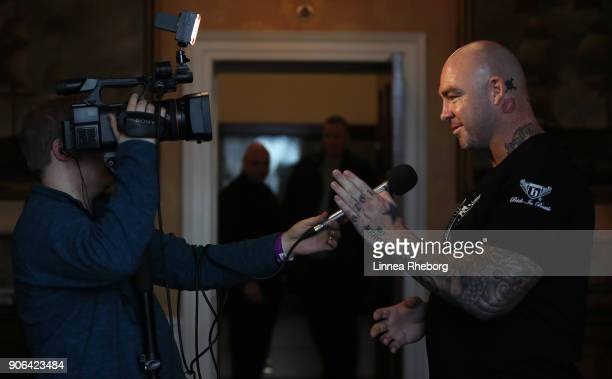 Lucas Browne is interviewed during a press conference for the heavyweight fight between Dillian Whyte and Lucas Browne at Trinity House on January 18...