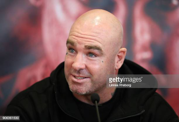 Lucas Browne speaks during a press conference for the heavyweight fight between Dillian Whyte and Lucas Browne at Trinity House on January 18 2018 in...