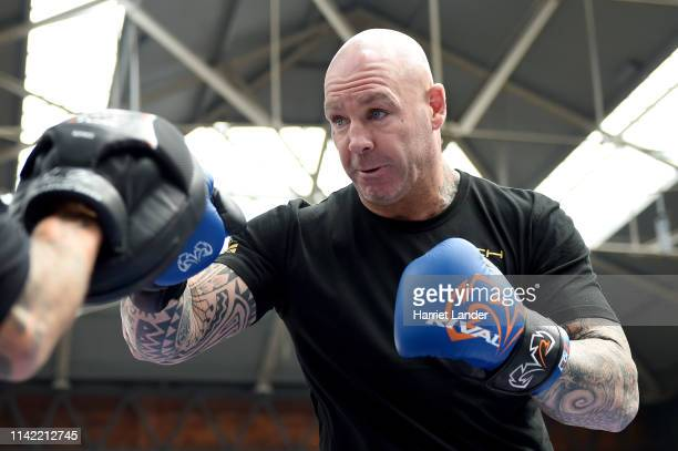 Lucas Browne trains during the Matchroom Boxing Public workout at Old Spitafield Market on April 12 2019 in London England