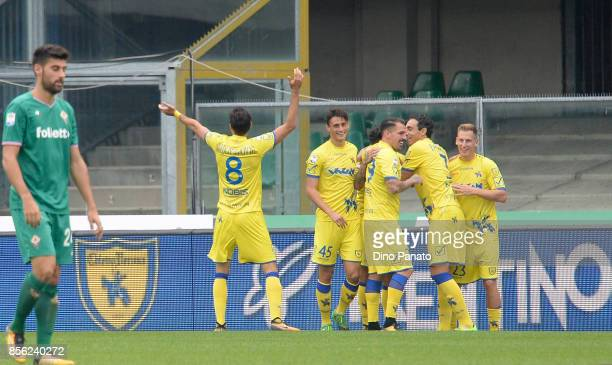 Lucas Castro of AC Chievo Verona celebrates after scoring his team's second goal during the Serie A match between AC Chievo Verona and ACF Fiorentina...