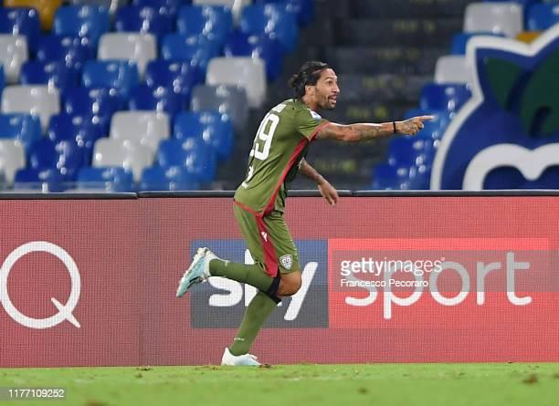 Lucas Castro of Cagliari Calcio celebrates after scoring the 01 goal during the Serie A match between SSC Napoli and Cagliari Calcio at Stadio San...