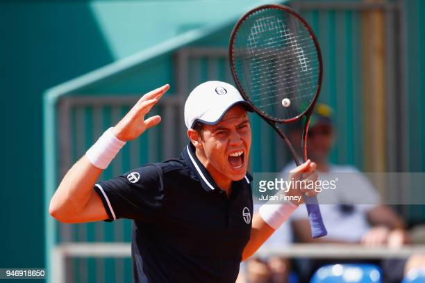 Lucas Catarina of Monaco celebrates after the first set in his singles match against Milos Raonic of Canada during day two of ATP Masters Series...