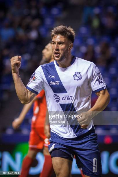 Lucas Cavallini celebrates the first goal of his team during the 4th round match between Puebla and Veracruz as part of the Torneo Apertura 2018 Liga...