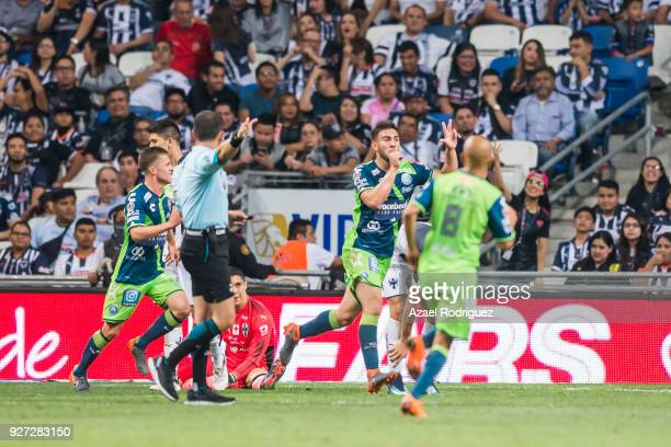 Lucas Cavallini of Puebla celebrates after scoring his team's third goal during the 10th round match between Monterrey and Puebla as part of the...