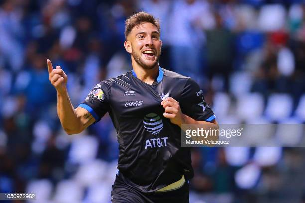 Lucas Cavallini of Puebla celebrates after scoring the second goal of his team during the 12th round match between Puebla and Lobos BUAP as part of...