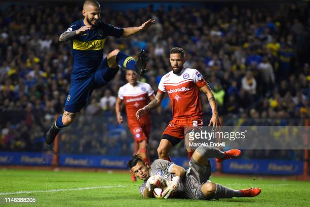 Lucas Chaves of Argentinos Juniors catches the ball during a second leg semifinal match between Boca Juniors and Argentinos Juniors as part of Copa...