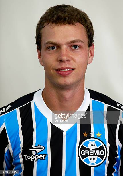 Lucas Coelho of Gremio FootBall Porto Alegrense poses during a portrait session on August 14 2014 in Porto AlegreBrazil