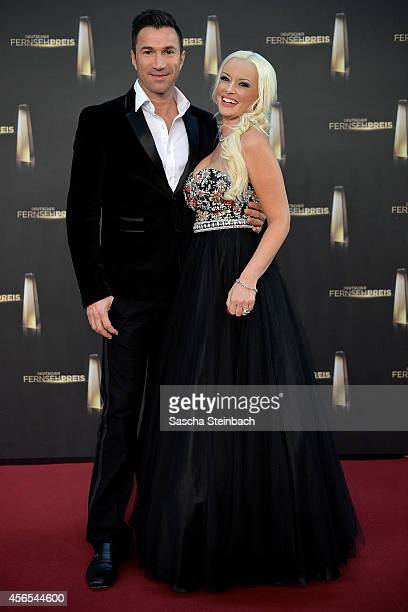 Lucas Cordalis and Daniela Katzenberger arrive at the 'Deutscher Fernsehpreis 2014' at Coloneum on October 2 2014 in Cologne Germany