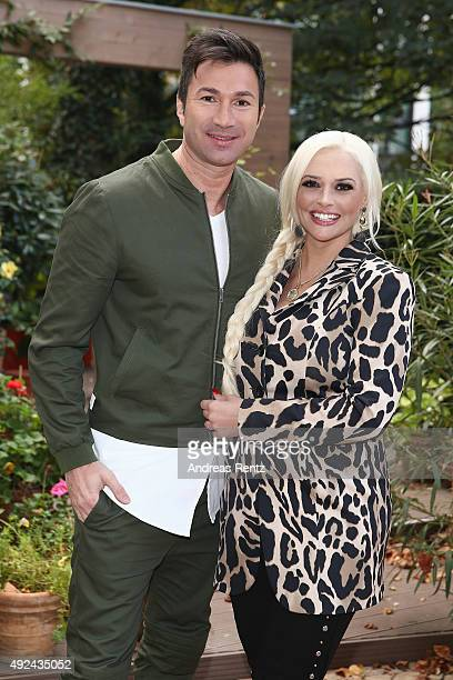 Lucas Cordalis and Daniela Katzenberger pose for a photograph during the launch of her new book 'Eine Tussi wird Mama' on October 13 2015 in...