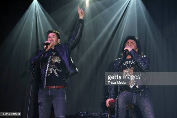 Lucas Cordalis and his father Costa Cordalis perform the 'Goodbye Jens - Party Stars Halten Zusammen' benefit at Grugahalle on February 23, 2019 in...