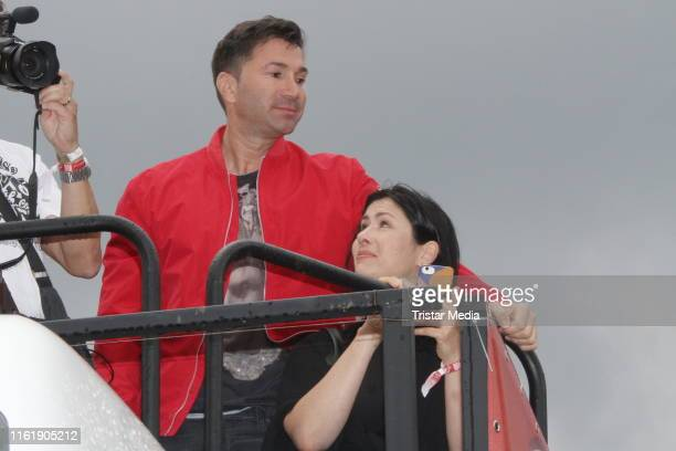 Lucas Cordalis and his sister Eva Cordalis during the Schlagermove in HamburgHeiligengeistfeld on July 13 2019 in Hamburg Germany