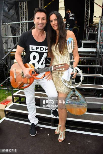 Lucas Cordalis and his sister Kiki Cordalis attend the Radio B2 SchlagerHammer OpenAirFestival at Rennbahn on July 15 2017 in Berlin Germany