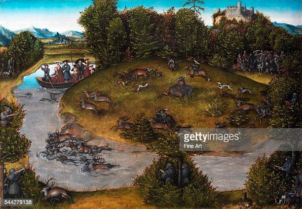 Lucas Cranach the Elder The Stag Hunt of the Elector Frederic the Wise of Saxony after 1529 oil on panel 565 × 805 cm Statens Museum for Kunst...