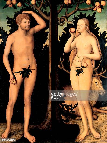 Lucas Cranach the Younger Adam and Eve in the Garden of Eden c 1537 oil on panel 1725 x 633 cm Gemäldegalerie Dresden Germany
