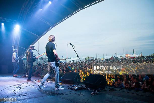 Lucas Crowther Joel Stocker and David Cartwright of The Rifles perform on stage during the first day of YNot Festival 2011 on August 5 2011 in...