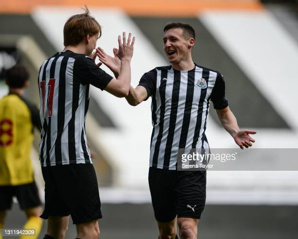 Lucas De Bolle of Newcastle United celebrates with Dylan Stephenson of Newcastle United after scoring the opening goal during the fifth round of the...