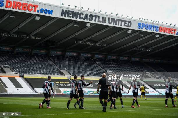 Lucas De Bolle of Newcastle United celebrates with teammates after scoring the opening goal during the fifth round of the FA Youth Cup between...