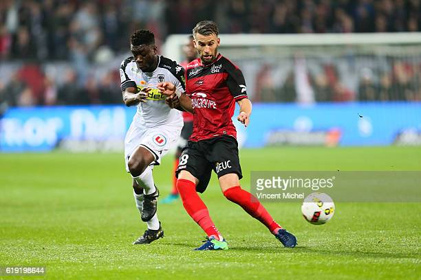 Lucas Deaux of Guingamp and Ismael Traore of Angers during the Ligue 1 match between Guingamp and Angers at Stade du Roudourou on October 29 2016 in...