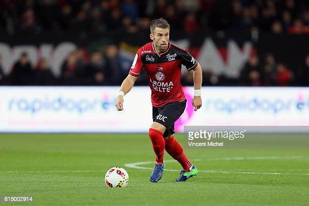 Lucas Deaux of Guingamp during the Ligue 1 match between EA Guingamp and Lille OCS at Stade du Roudourou on October 15, 2016 in Guingamp, France.